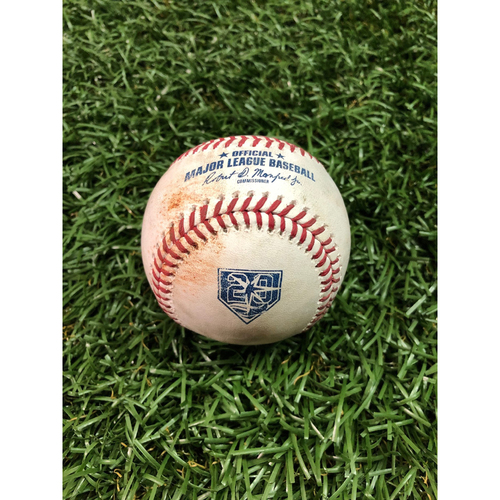Photo of 20th Anniversary Game-Used Baseball: Matt Duffy walk and Ji-Man Choi RBI triple off Tyler Thornburg - August 25, 2018 v BOS