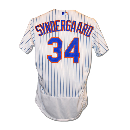 Photo of Noah Syndergaard #34 - Game Used White Pinstripe Jersey - 6.1 IP, 6 K's, Earns 7th Win of 2018; 1-3 Single - Mets vs. Reds - 8/6/2018