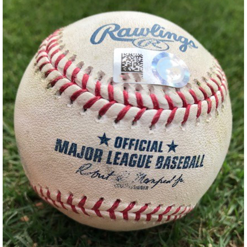 Photo of Final Season Game-Used Baseball - Brian Goodwin (RBI) Double - 8/21/19