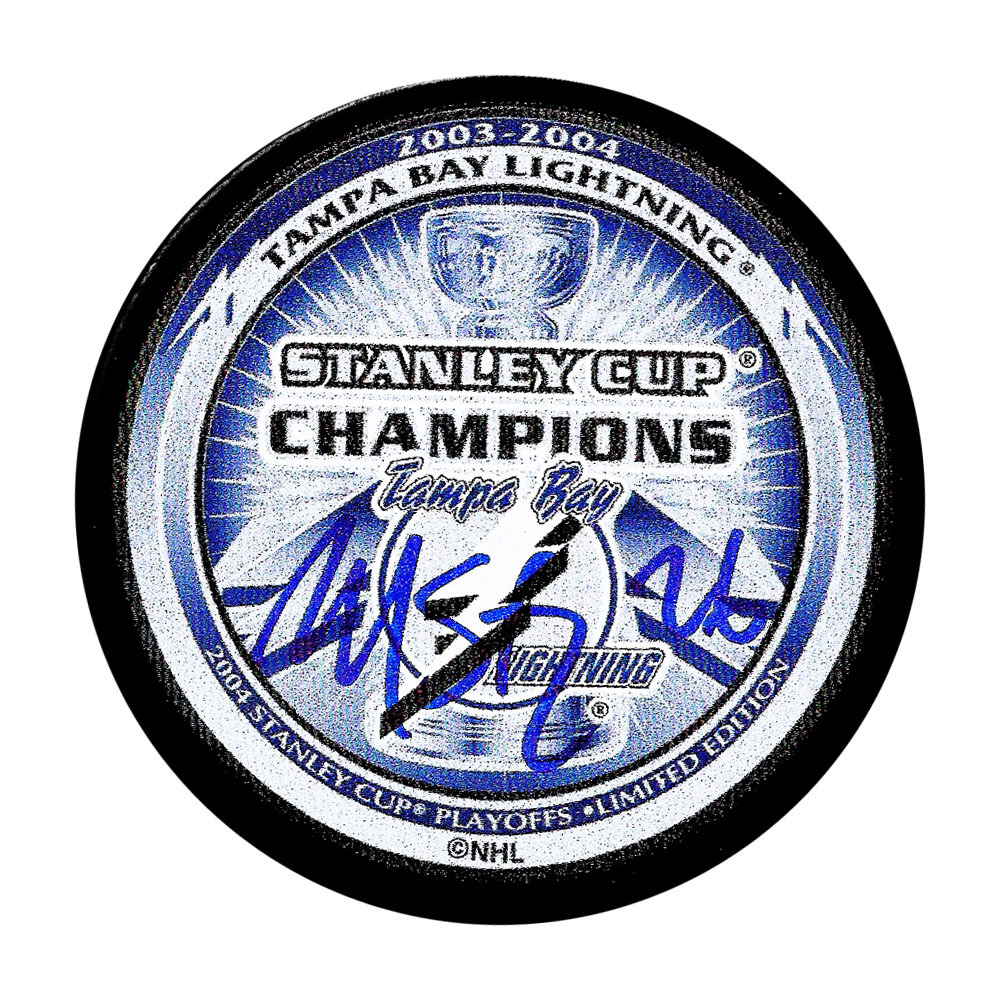 Martin St. Louis Autographed Tampa Bay Lightning 2004 Stanley Cup Champions Puck