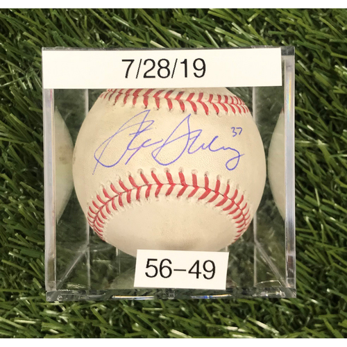 Win #56: 7/28/2019 Game-Used Baseball - Autographed by Stephen Strasburg