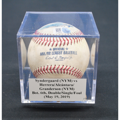 Photo of Game-Used Baseball: Noah Syndergaard (NYM) vs Rosell Herrera/Sandy Alcántara/Curtis Granderson (NYM), Bot. 6th, Double/Single/Foul - May 19, 2019