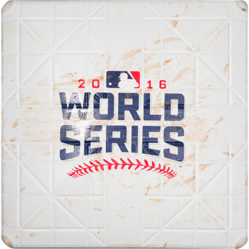 Photo of Game-Used Base: 2016 World Series - Cleveland Indians at Chicago Cubs - Game 5 - 1st Base Innings 1-2 -  10/30/2016