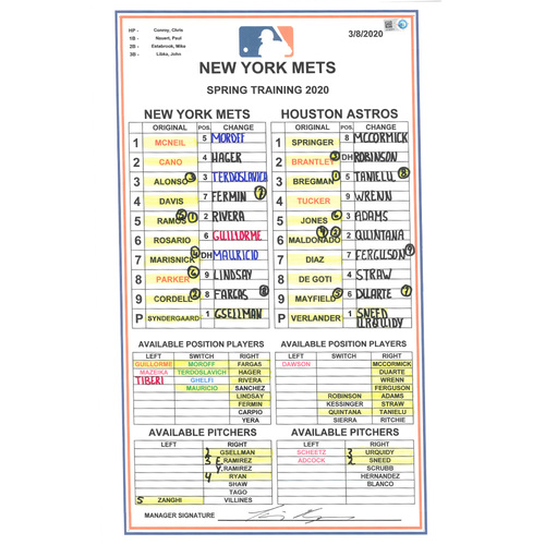 Photo of Team Issued Lineup Card - 2020 Spring Training - Syndergaard Start - Mets vs. Astros - 3/8/20