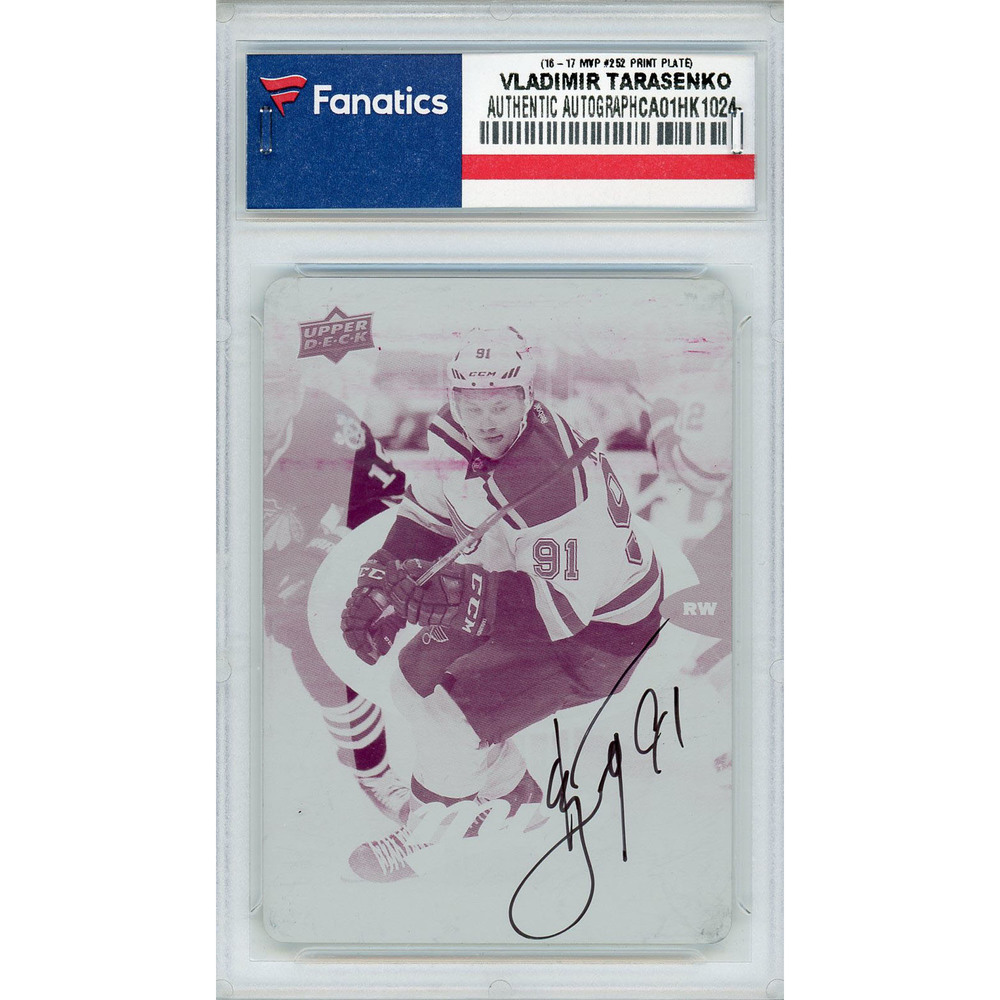 Vladimir Tarasenko St. Louis Blues Autographed 2016-17 Upper Deck MVP #252 Printing Plate Card - LE of 1