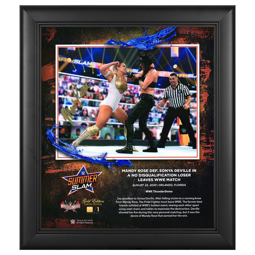 Photo of Mandy Rose SIGNED SummerSlam 2020 WrestleMania Gold Edition Plaque (#1 of 1)