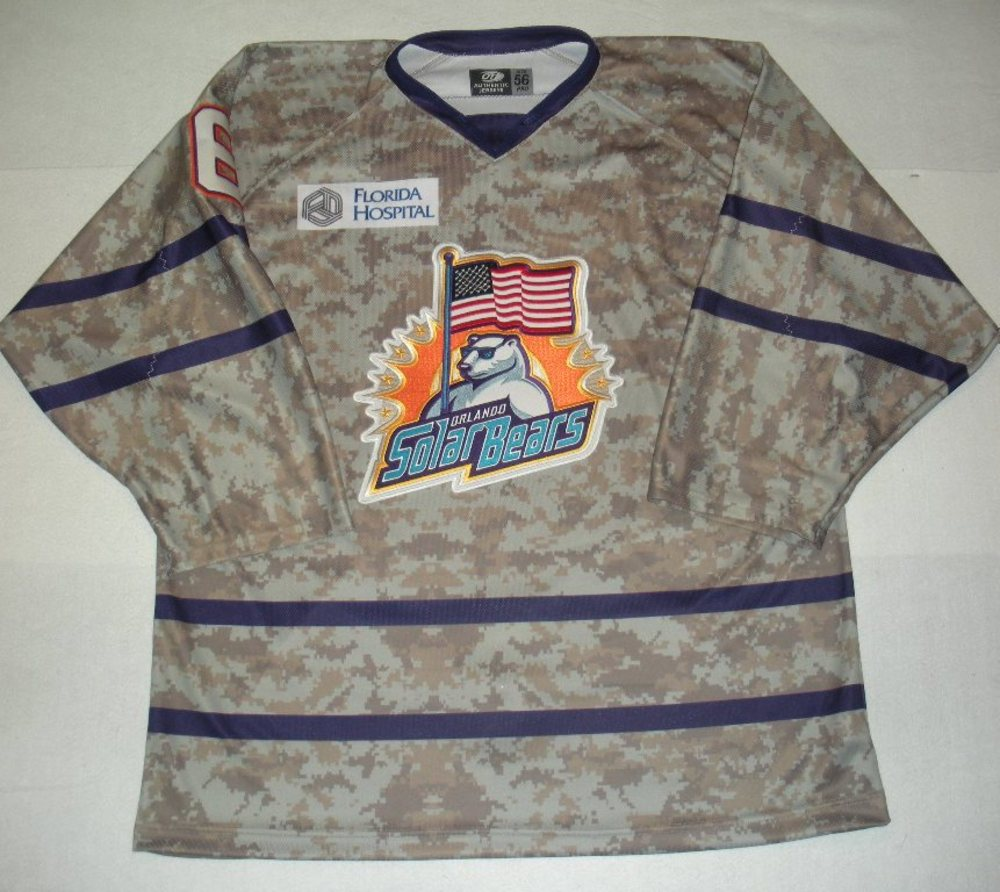 Orlando Solar Bears - Cody Wild - Military Appreciation Night Camo Game-Issued Jersey