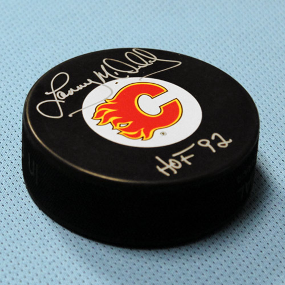 Lanny McDonald Clagary Flames Autographed Hockey Puck w/ HOF Note