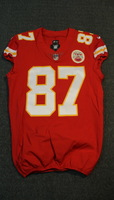CRUCIAL CATCH - CHIEFS TRAVIS KELCE SIGNED AND GAME ISSUED CHIEFS JERSEY (OCTOBER 15, 2017) SIZE 44