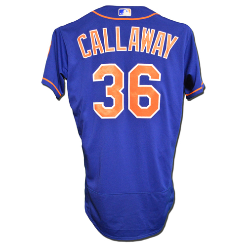 Photo of Mickey Callaway #36 - Game Used Blue Alt. Home Jersey - Worn on 9/13/18 and 9/28/18 vs. Marlins
