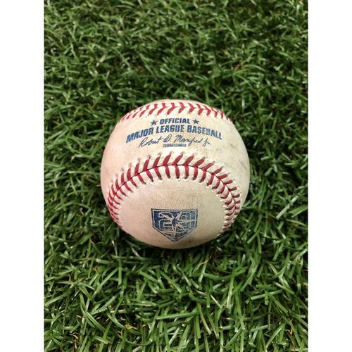 20th Anniversary Game-Used Baseball: J.D Martinez strikeout, Xander Bogaerts single and Ian Kinsler foul ball off Diego Castillo - August 24, 2018 v BOS