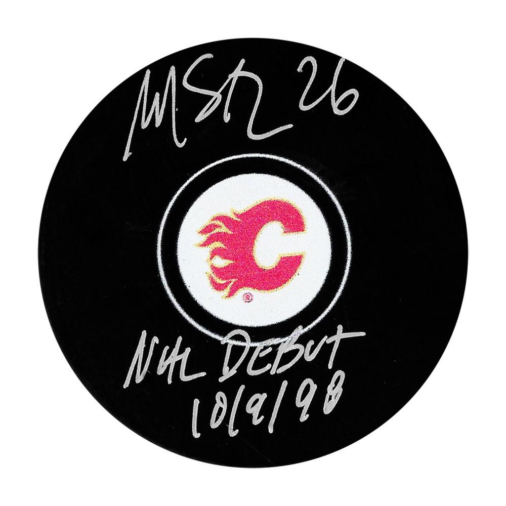 Martin St. Louis Autographed Calgary Flames Puck w/NHL DEBUT 10/9/98 Inscription