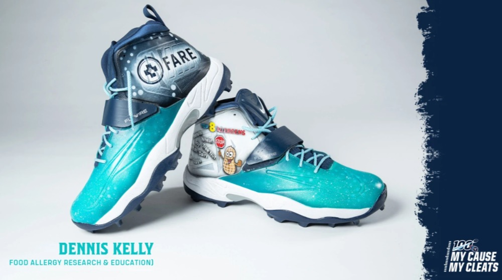 My Cause My Cleats -  Titans Dennis Kelly custom cleats - supporting  FARE (Food Allergy Research & Education)