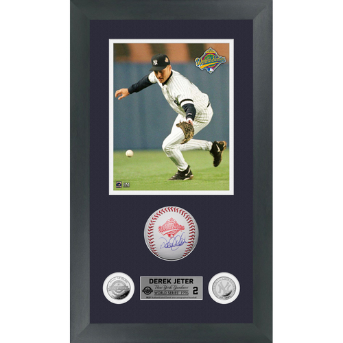 Photo of Derek Jeter Autographed 1996 World Series Logo Baseball Shadow Box Frame