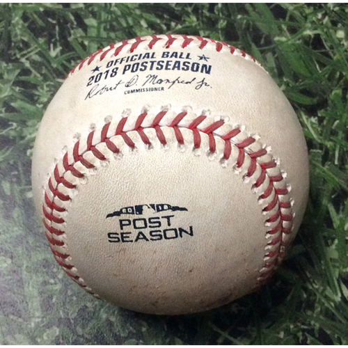 Photo of Game-Used Baseball NLCS Game 2 LAD@MIL 10/13/18 - Junior Guerra - Yasiel Puig: Double Play Groundout