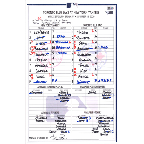 Photo of New York Yankees Game-Used Lineup Card vs. Toronto Blue Jays on September 15, 2020