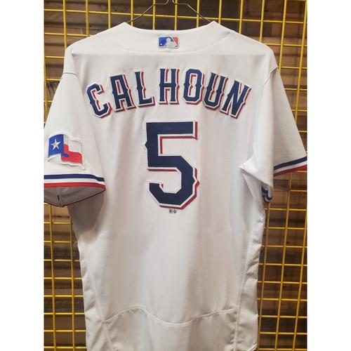 Photo of Willie Calhoun Game-Used White Jersey - 9/29/21
