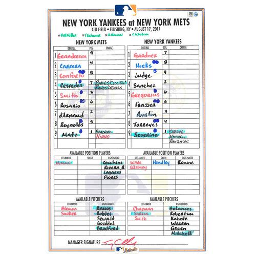 Game Used Lineup Card - Matz Start; Granderson Hits Grand Slam - Mets vs. Yankees - 8/17/17