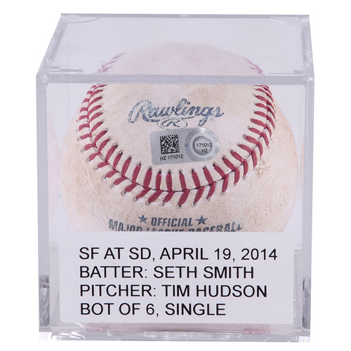 Padres Authentics: Seth Smith Game-Used Single Baseball VS. Tim Hudson and S.F. Giants