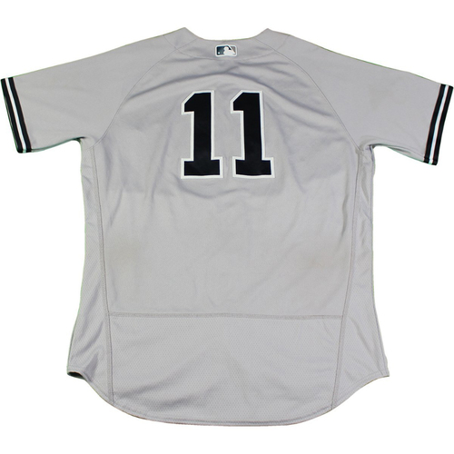 Photo of Brett Gardner New York Yankees Game-Used #11 Grey Jersey (8/24/2017). Jersey Size - 44