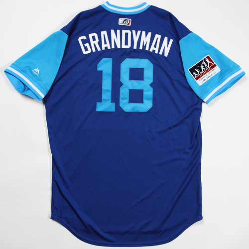 "Photo of Curtis ""Grandyman"" Granderson Toronto Blue Jays Game-Used Jersey 2018 Players' Weekend Jersey"