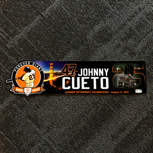 Photo of San Francisco Giants - 2018 Locker Tag #25 Retirement Day - Johnny Cueto