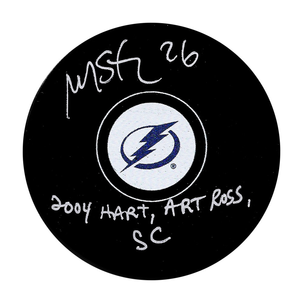 Martin St. Louis Tampa Bay Lightning Puck w/2004 HART, ART ROSS, SC Inscription