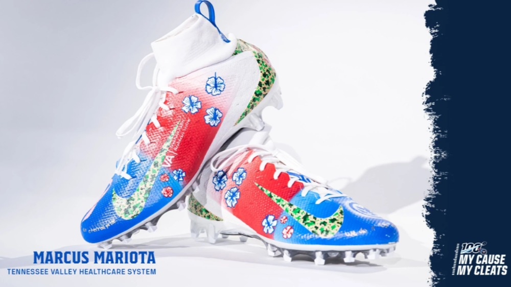 My Cause My Cleats -  Titans Marcus Mariota custom cleats - supporting  VA Tennessee Valley Healthcare System