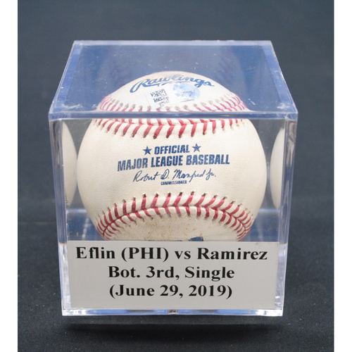 Photo of Game-Used Baseball: Zach Eflin (PHI) vs Harold Ramirez, Bot. 3rd, Single - June 29, 2019