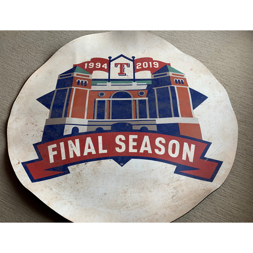 Photo of Game-Used On-Deck Circle Used for Final Game Ever at Globe Life Park - 9/29/2019 - NYY vs. TEX