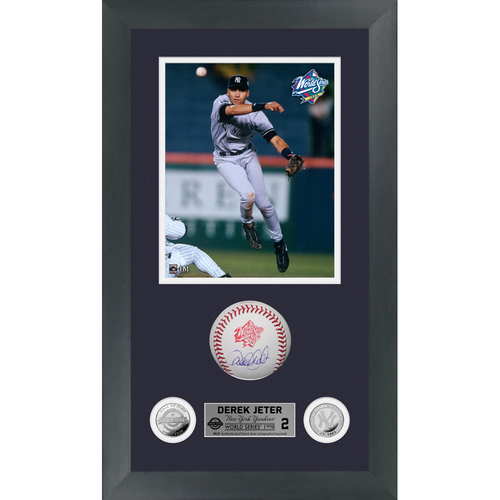 Photo of Derek Jeter Autographed 1998 World Series Logo Baseball Shadow Box Frame