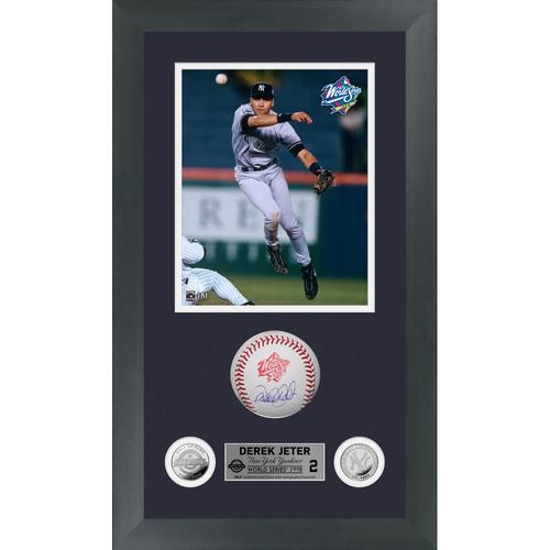 Photo of Derek Jeter Autographed 1998 World Series Logo Baseball Shadow Box Frame