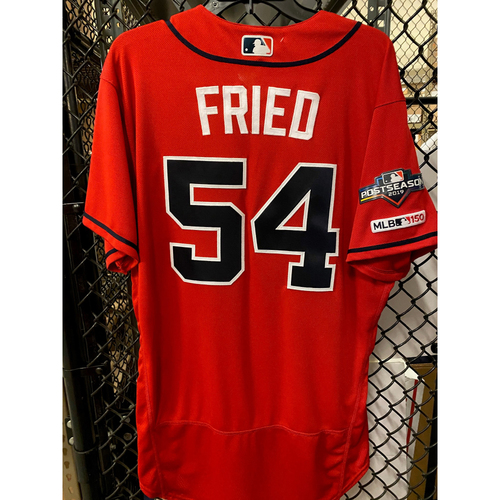 Photo of Max Fried Game Used Home Red NLDS Game 2 Jersey - Worn 10/4/19