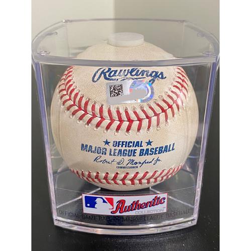 Photo of Game Used Baseball: Pitcher: Madison Bumgarner, Batter: Manny Machado - Home Run - Bot 1 - 8-9-2020 vs. ARI