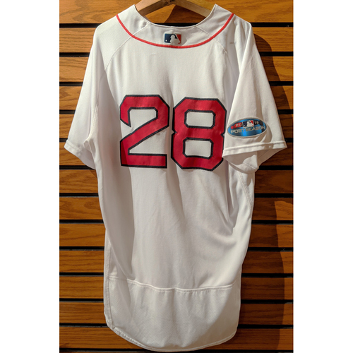 Photo of 2018 Postseason J.D. Martinez #28 Team Issued Home White Jersey