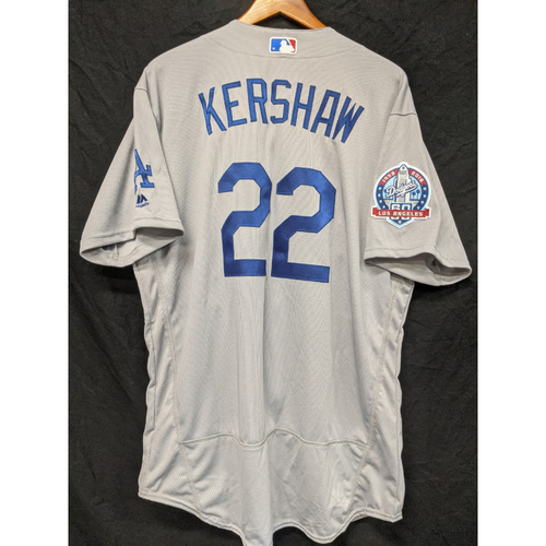 Photo of Clayton Kershaw Team-Issued 2018 Road Jersey