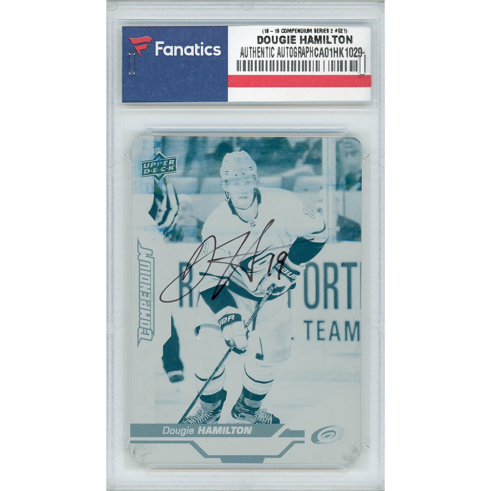 Dougie Hamilton Carolina Hurricanes Autographed 2018-19 Upper Deck Compendium Series Two #521 Printing Plate Card - LE of 1