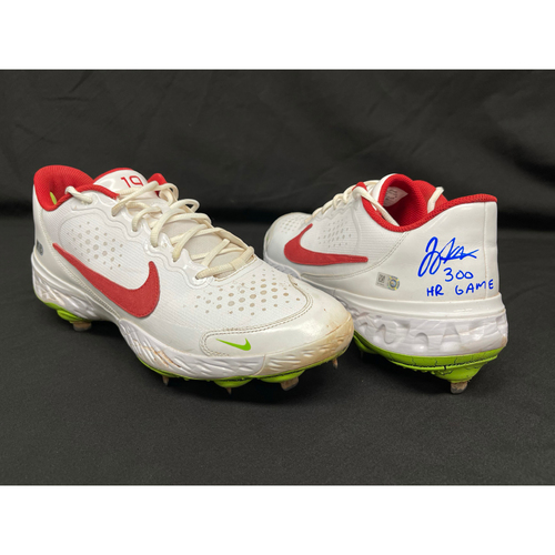 Photo of Joey Votto *Game-Used, Autographed & Inscribed* Cleats -- Worn By Joey Votto For 300th Career Home Run -- CHC vs. CIN on 04/30/2021