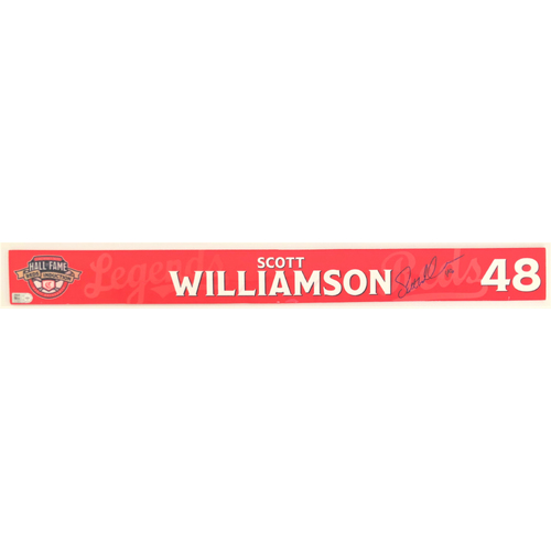 Photo of Scott Williamson - Game-used and Autographed Locker Name Plate: 2021 Cincinnati Reds Hall of Fame Legends Game