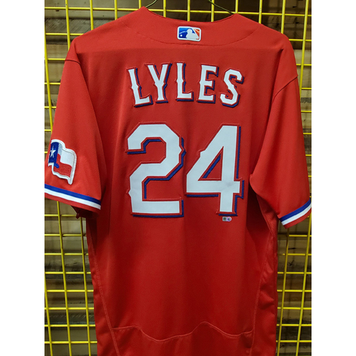 Photo of Jordan Lyles Team-Issued Red Jersey Authenticated 10/2/2021 - Win #10 in 2021