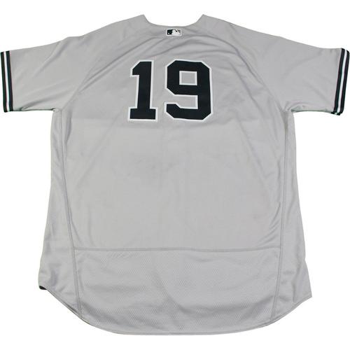 Photo of Masahiro Tanaka New York Yankees Game-Used #19 Grey Jersey (8/22/2017). Jersey Size - 52