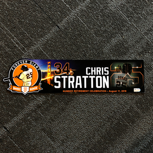 Photo of San Francisco Giants - 2018 Locker Tag #25 Retirement Day - Chris Stratton