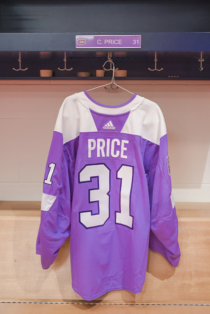#31 Carey Price Warm-Up Worn and Autographed Hockey Fights Cancer Jersey