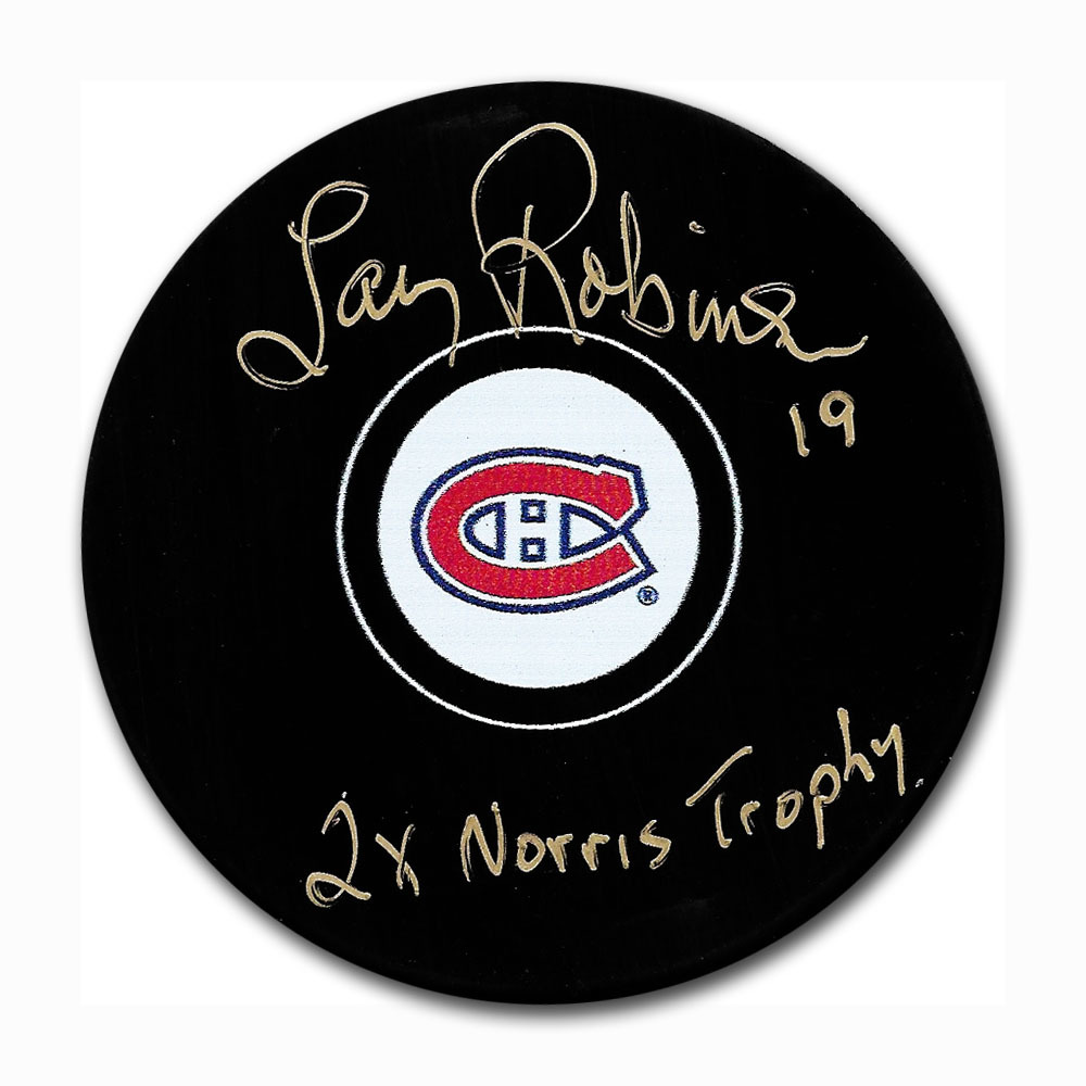 Larry Robinson Autographed Montreal Canadiens Puck w/2X NORRIS TROPHY Inscription