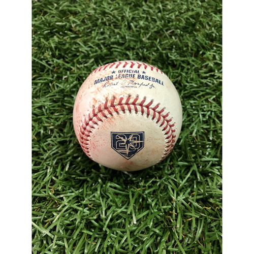 Photo of 20th Anniversary Game-Used Baseball: Aaron Judge strikeout and Luke Voit ball in dirt against Jake Faria - September 25, 2018 v NYY