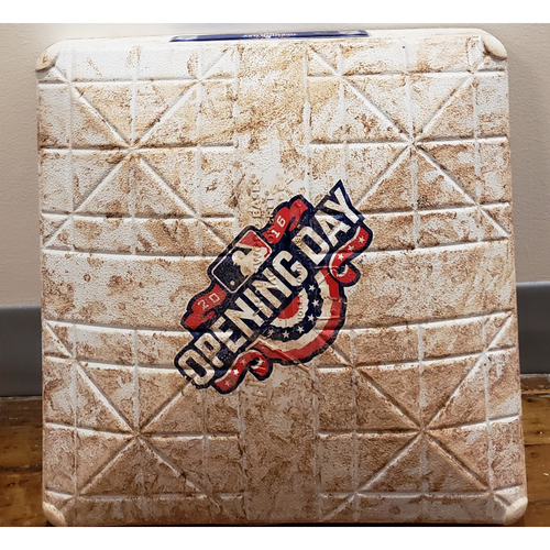 Photo of 2016 Opening Day Game-Used Base - Boston Red Sox at Toronto Blue Jays - 2nd Base Used In Innings 1-3 - 4/8/16