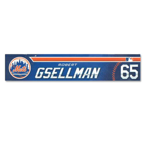 Robert Gsellman #65 - Game Used Locker Nameplate - Mets vs. Astros - 2/24/19 - 2019 Spring Training