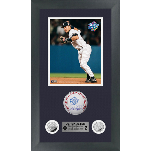 Photo of Derek Jeter Autographed 1999 World Series Logo Baseball Shadow Box Frame