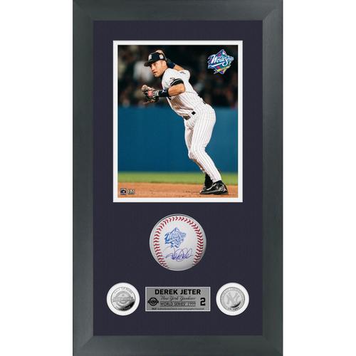 Photo of Derek Jeter Autographed 1999 World Series Logo Baseball Shadow Box Frame