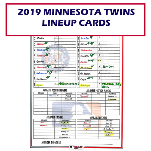 Photo of 2019 Minnesota Twins Game-Used Lineup Card - Choose your Game Date!